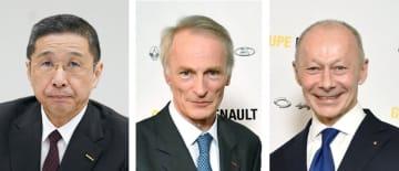 日産自動車の西川広人社長兼CEO、ルノーのジャンドミニク・スナール会長、ティエリー・ボロレCEO