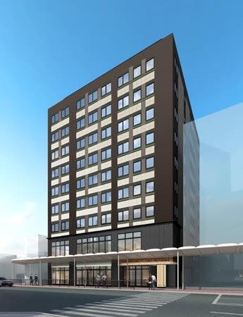 名鉄不動産などが来年秋に河原町通沿いに開業するホテルのイメージ図(同社提供)