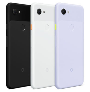 Pixel 3a(左から、Just Black、Clearly White、Purple-ish)