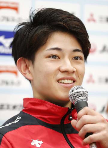 体操のNHK杯を前に記者会見する谷川翔=武蔵野の森総合スポーツプラザ