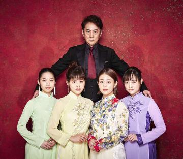 来年上演の「ミス・サイゴン」に出演が決まった(前列左から)屋比久知奈、昆夏美、高畑充希、大原桜子と市村正親(後ろ)