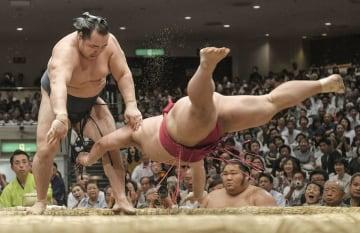 鶴竜(左)がはたき込みで大栄翔を下す=両国国技館
