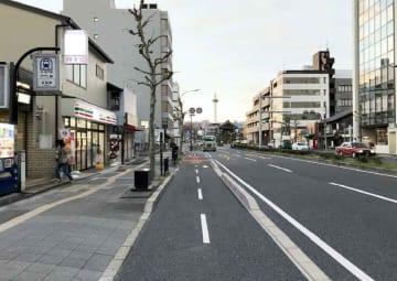 京都国道事務所が烏丸通で整備を検討している自転車道のイメージ(同事務所提供)