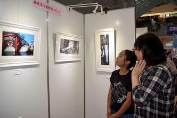 宮崎空港で始まった藤城清治さんらの作品展=18日午前、宮崎市