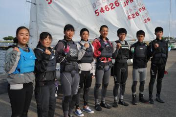 セーリングJOCジュニアオリンピックカップで活躍した霞ケ浦高の選手たち=土浦市ラクスマリーナ