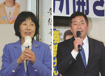 「新しい立場で北海道の未来を開きたい」と語る高橋氏(左)、「平和や暮らしを壊す動きと戦っていく」と語る勝部氏(右)