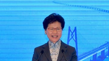 Carrie Lam speaking at the first media summit for the Greater Bay Area. Photo: GovHK.