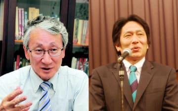 川口淳一郎さん(左)と原晋監督