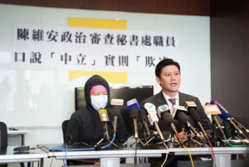 Lawmaker Jeremy Tam (right) speaks on the legislature's secretariat. Photo: handout.