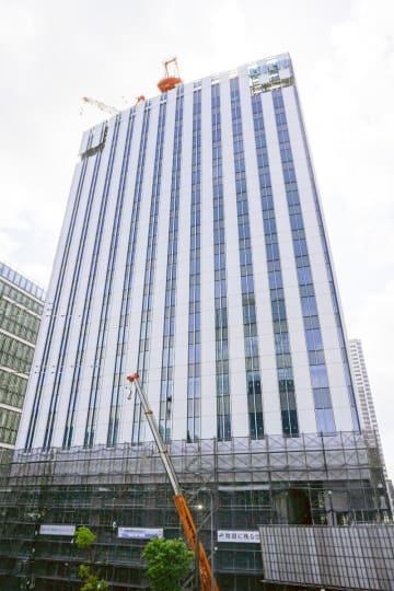 みなとみらい21地区56-1街区で建設が進む「京急グループ本社」=横浜市西区