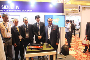 Toshiba-Denso-Suzuki joint venture executives in New Delhi last week with replicas of a lithium ion battery module and lithium ion cell.