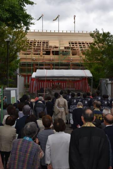 攝護寺本堂改築で行われた上棟式