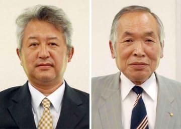 南山城村長選に出馬を表明した(左から)北久保浩司氏、徳谷契次氏