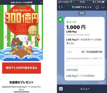 「祝!令和300億円祭」で1000円分のLINE Payボーナスが得られた画面