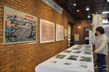 県内温泉地の絵図などが並ぶ企画展