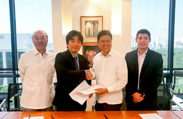 Human Holdings Co. signs an agreement on March 23, 2019, to set up a Japanese language school in Manila in July with Magsaysay People Resources Corp., a leading human resource firm in the Philippines. (Photo courtesy of Human Holdings) (PHOTO NOT FOR