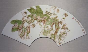 陶板に描かれた水墨画 福建省で公開