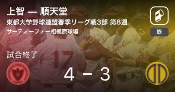 【東都大学野球連盟春季リーグ戦3部第8週】上智が順天堂から勝利をもぎ取る