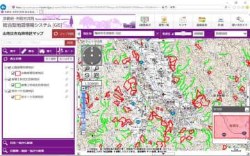 京都府がGISで公開を始めた山地災害危険地区の地図情報。山崩れ、土石流、地すべりの恐れがある場所を表示する