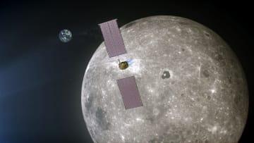 月を周回する新宇宙ステーション「ゲートウエー」の電気推進装置の想像図(NASA提供・共同)