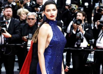 Adriana Lima Stuns In Navy Sequin Dress On 2019 Cannes Film Festival Red Carpet