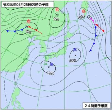 5月25日午前9時の予想天気図(気象庁HPより)