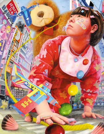 埼玉新聞社賞を受賞した洋画部門・植村佳乃子さんの「バブバブの逆襲~ラブリィデストロイベイビー~」