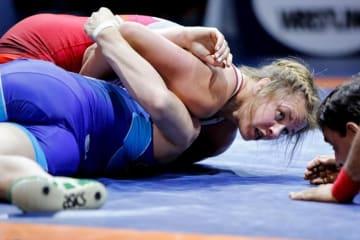 オリンピック女王の激突に勝ったエリカ・ウィーブ(カナダ)=提供・UWW