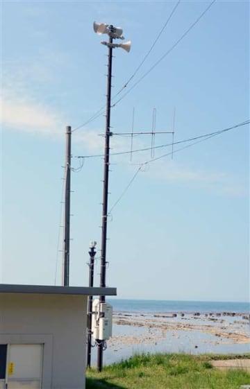 防災行政無線の屋外スピーカー=男鹿市船川港