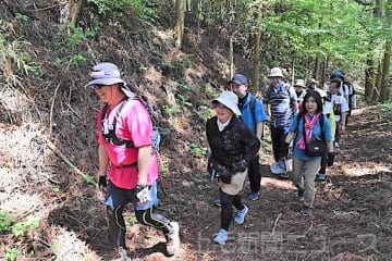 美しい自然の中、歴史散策を楽しむ参加者