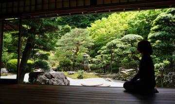 数寄屋造りの邸宅や新緑の庭が公開されている国登録有形文化財「旧邸御室」(京都市右京区御室岡ノ裾町)
