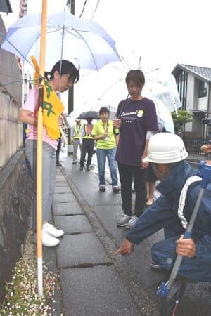 散歩ルートの歩道を点検する大津市職員や保育施設の関係者ら(28日午前10日21分、同市一里山2丁目)