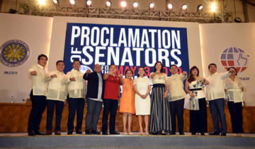 The 12 winning candidates in the race for the Philippine senate proclaimed on May 22 after mid-term elections. Photo courtesy of newly elected senator Cynthia Villar.