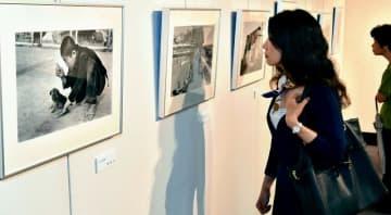 戦後、沖縄の暮らしを切り取った写真に見入る来場者=28日、那覇市民ギャラリー