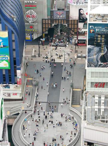 大阪・ミナミの戎橋北詰付近=2016年6月