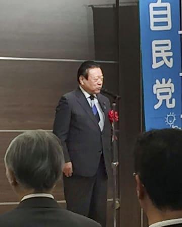 千葉市で開かれた会合で発言する自民党の桜田前五輪相=29日午後