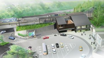 「松島海岸駅」の新駅舎のイメージ図(JR東日本仙台支社提供)