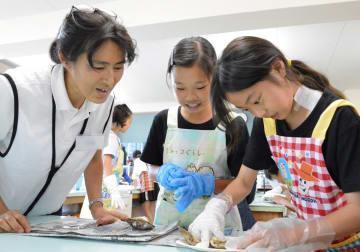 真珠探しに夢中になる児童ら=三浦市立名向小学校
