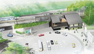改修後の松島海岸駅のイメージ。手前の新設、奥の既設両ホームにエレベーターを設置する