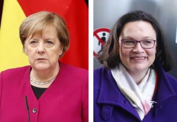 ドイツのメルケル首相、ドイツ社会民主党のナーレス党首(ロイター=共同)
