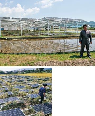 再建したソーラーシェアリングと小山田さん(上)、台風で倒壊直後の様子(下=昨年秋)