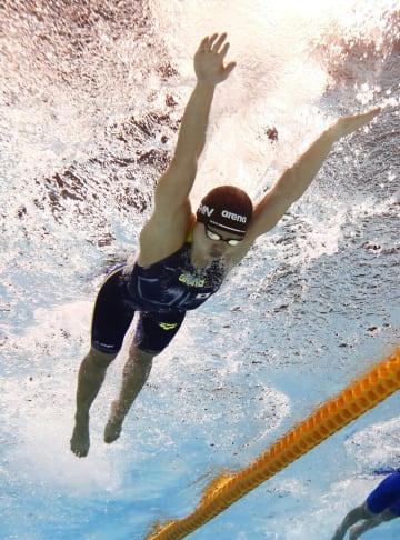 女子200メートルバタフライ決勝 優勝した長谷川涼香=東京辰巳国際水泳場