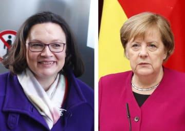 ドイツ社会民主党のナーレス党首(ロイター=共同)、ドイツのメルケル首相(右)