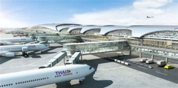 Japan's Hitachi group is installing a total of 174 elevators, escalators and moving walkways at an expanded area of Suvarnabhumi International Airport in Thailand. (Artist image courtesy of Hitachi Building Systems Co.)