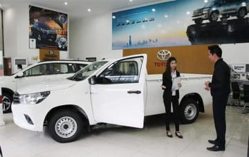 A Hilux pickup at a dealership in Yangon