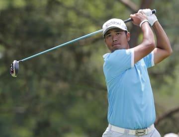 米男子ゴルフのメモリアル・トーナメント最終日、松山英樹の2番ティーショット=2日、ダブリン(AP=共同)