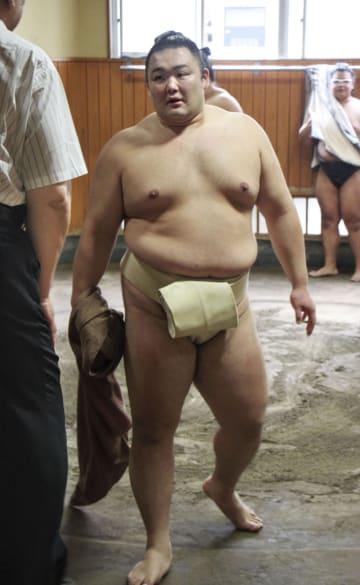 名古屋場所に向け稽古を再開した朝乃山=3日、東京都墨田区の高砂部屋