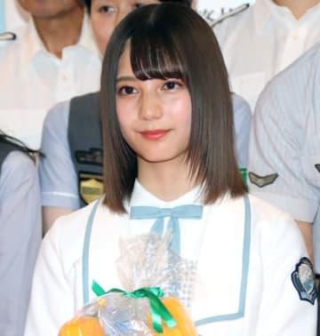 渋谷警察署の「痴漢被害防止キャンペーンイベント」に出席した「日向坂46」の小坂菜緒さん