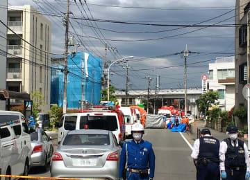 小学生らが襲われた現場=28日午前9時35分ごろ、川崎市多摩区登戸新町