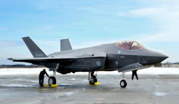 最新鋭ステルス戦闘機F35A=2018年1月、青森県の航空自衛隊三沢基地